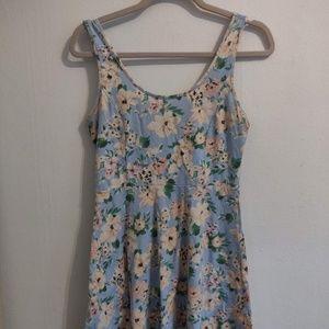short sleeve floral lace back dress